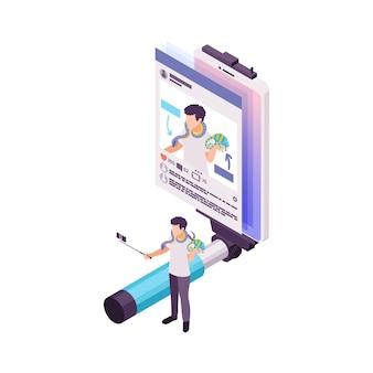 Vlogging isometrisches konzept mit person, die video über tier 3d illustration macht
