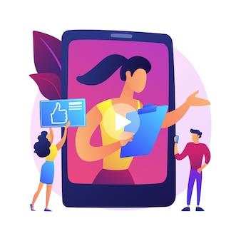 Vlogging lebensstil. video-blogging, interaktion mit sozialen medien, digitale kommunikationsplattform. fröhlicher vlogger, influencer-gruß, winkende handbewegung