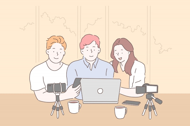 Vlogging, live-streaming von laptop-konzept