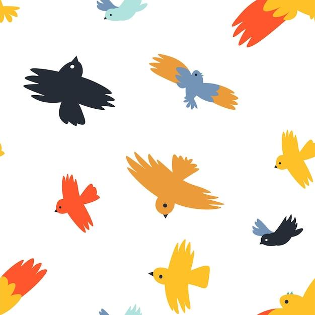 Vögel, die verschiedene arten von birdies-mustern fliegen