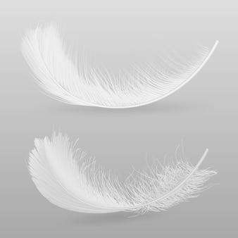 Vögel, die weiße, flaumige realistische vektorillustration der federn 3d lokalisiert auf grauem hintergrund fliegen oder unten fallen. symbol für weichheit und zerbrechlichkeit. dekoratives gestaltungselement des weichheits- und reinheitskonzeptes