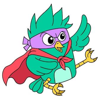 Vögel lernen, super-kicks zu gleiten, doodle-symbolbild. cartoon charakter süßes gekritzel zeichnen