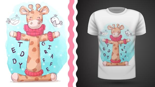 Vögel und giraffen - idee für print-t-shirt