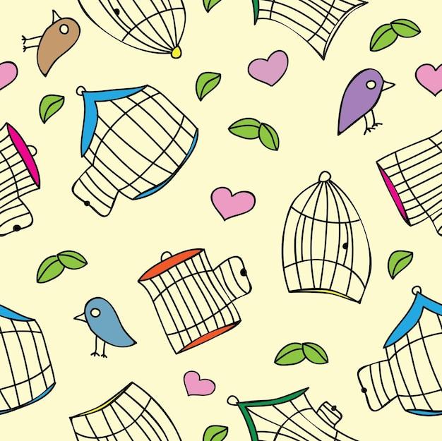 Vögel und vogelkäfige. nahtloses muster - vektorillustration