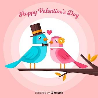 Vögel verbinden valentinstaghintergrund