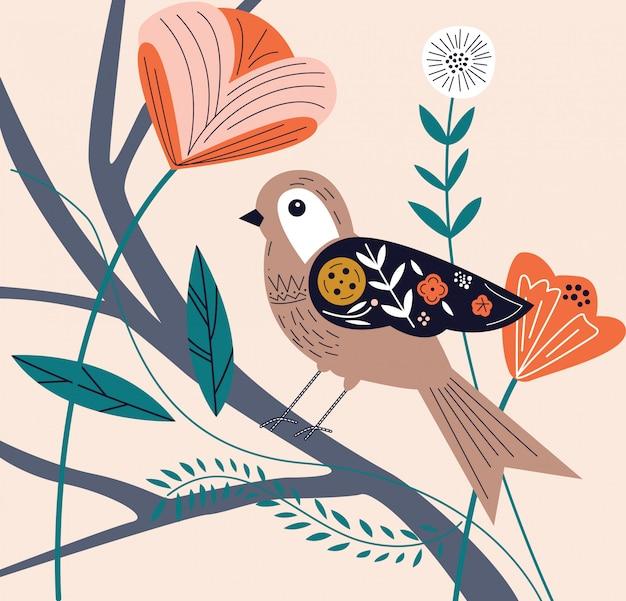 Vogel auf blumenillustration