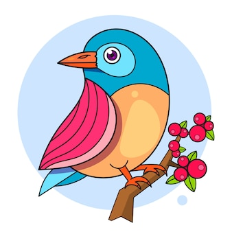 Vogel auf einem niederlassungsentwurf