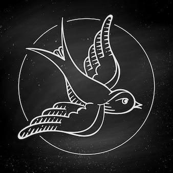 Vogel auf schwarzer tafel