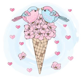 Vogel-bouquet-valentinstag-illustration