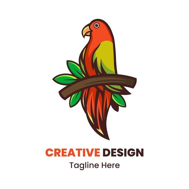 Vogel, der auf zweigmaskottchen-logo-designvektor steht
