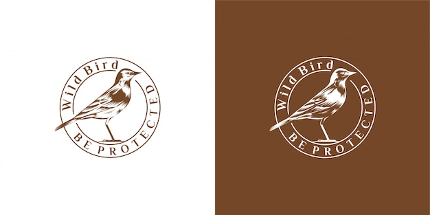 Vogel design emblem, vintage, stempel, abzeichen, logo vektor vorlage