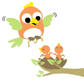 Vogel-familienvektorkarikatur