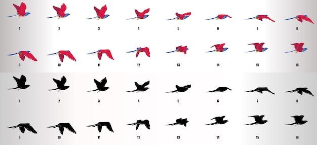 Vogel fliegender zyklus animationssequenzvektor
