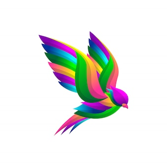 Vogel-flügel-logo mit bunter steigungsart, elegantes modernes