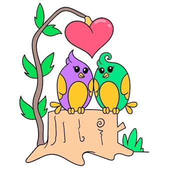 Vogel gepaart symbol der valentinstag feier voller liebe, doodle draw kawaii. illustrationskunst