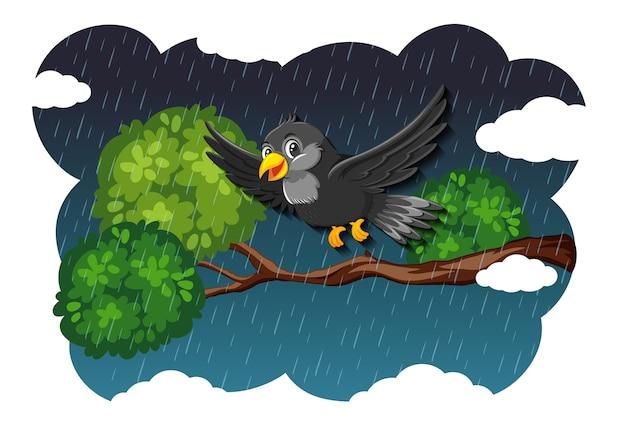 Vogel in der natur rennt szene