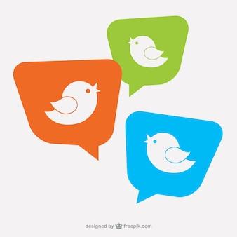 Vogel-logo auf sprechblasen