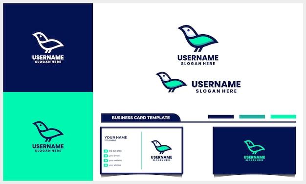 Vogel-logo-design linear und linie kunststil mit visitenkartenvorlage