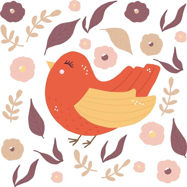 Vogel mit blumen- und blattillustration