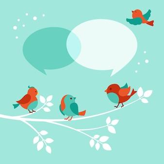 Vogel mit dialog-sprechblase