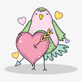 Vogel mit herzen und pfeil zur valentinstagfeier