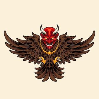 Vogel mit japanischer dämonenmaske