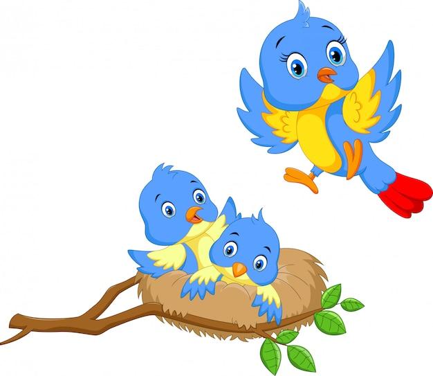Vogel mit zwei jungen im nest