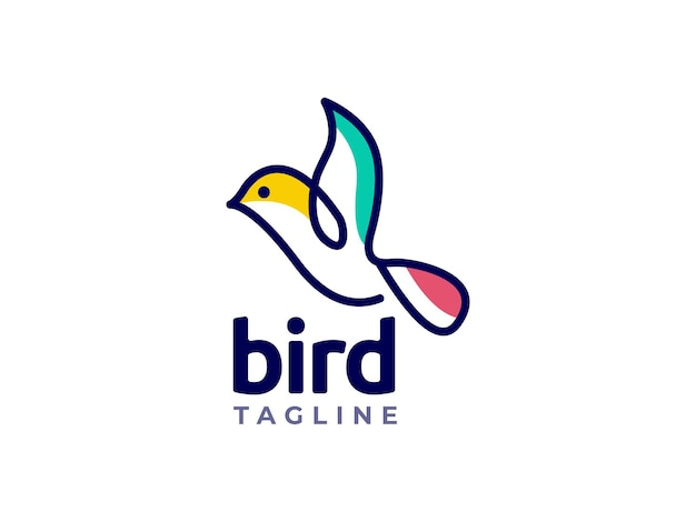 Vogel-mono-line-logo-design-konzept