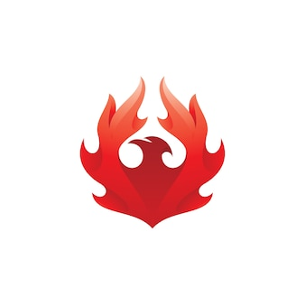 Vogel-phönix mit feuerflügel-logo