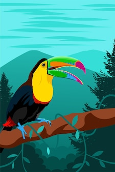 Vogel tier wald vektor-illustration
