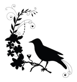 Vogel und blumen. schwarze silhouette-vektor-illustration isoliert auf weißem hintergrund