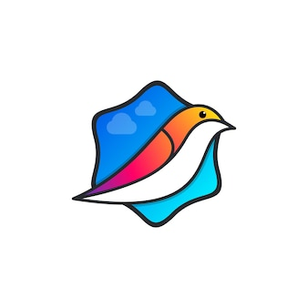 Vogel- und himmelblau-logo-vorlage