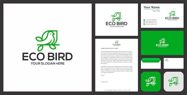 Vogel und modernes geschäftsbriefpapier