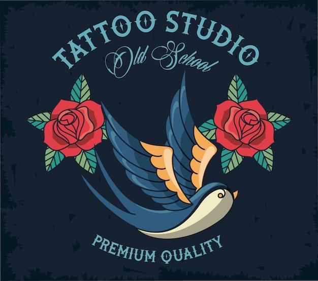 Vogel und rosen tattoo studio logo