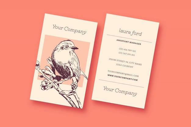 Vogel-vintage visitenkarte