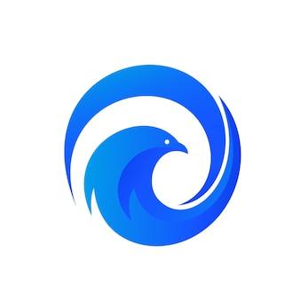 Vogel-zusammenfassung in der kreis-form logo template
