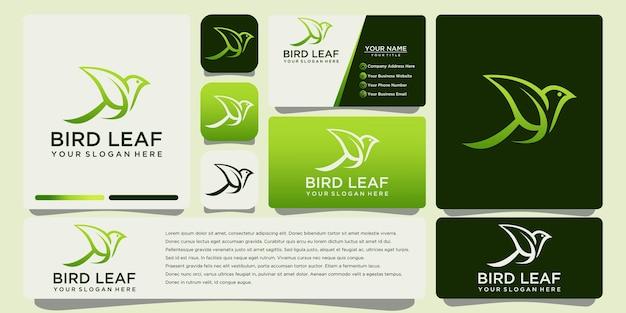Vogelblatt-logoentwurf mit visitenkartenschablone
