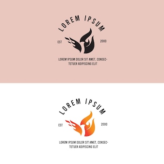 Vogelfeuer heißes vintage-logo