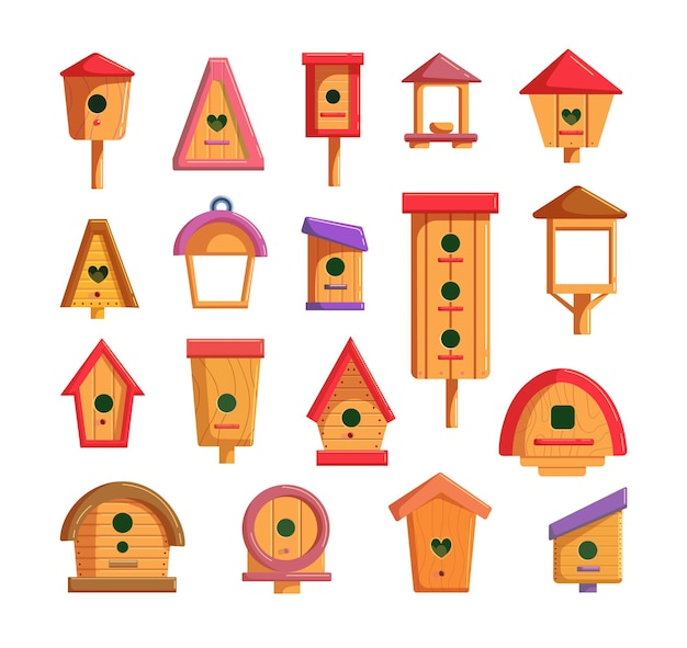 Vogelhaus eingestellt für fütterung und lebenden vogel lokalisiert auf weiß