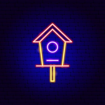 Vogelhaus leuchtreklame. vektor-illustration der gartenförderung.