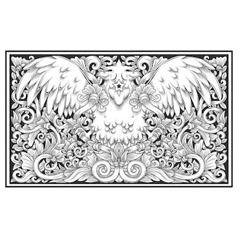 Vogelillustration, blumenillustrationshandzeichnung