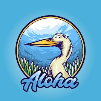 Vogelillustrationsentwurf mit aloha