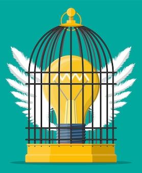 Vogelkäfig mit glühbirne der idee im inneren. konzept der kreativen idee oder inspiration, unternehmensgründung. glasbirne mit spirale und flügeln im flachen stil. vektor-illustration