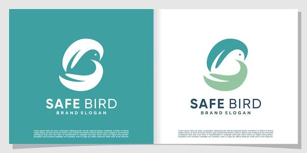 Vogellogo abstrakt mit der hand, die einen vogel hält premium-vektor