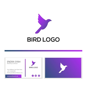 Vogellogo mit visitenkarte