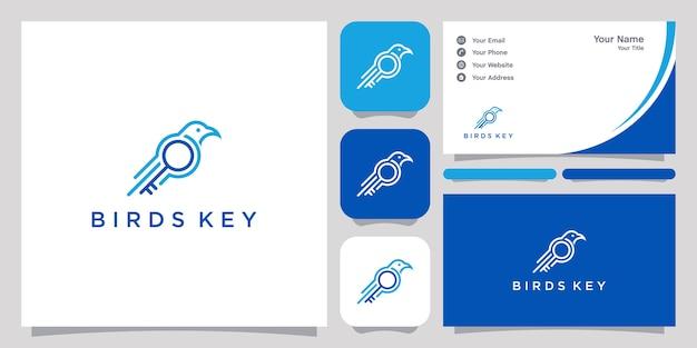 Vogelschlüssel-logo mit strichzeichnungen und visitenkarte