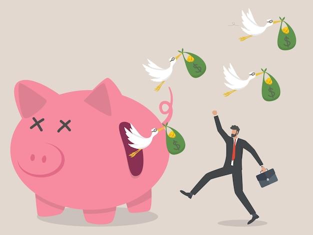 Vogelschwarm mit geld fliegen