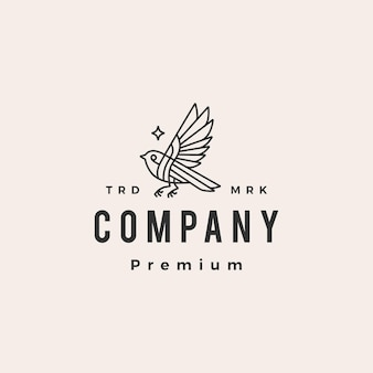 Vogelstern monoline hipster vintage logo vorlage