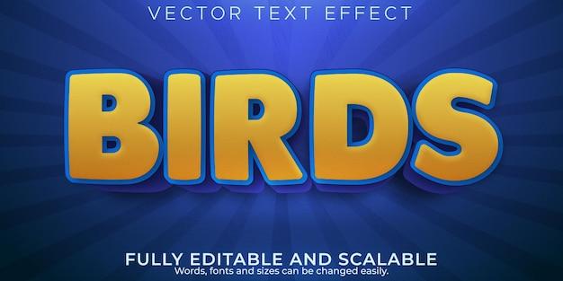 Vogeltexteffekt, bearbeitbarer cartoon- und papageientextstil