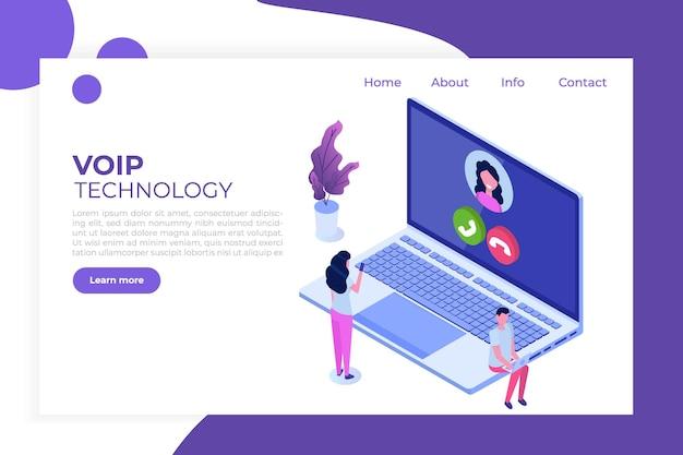 Voice over ip, isometrisches konzept der voip-technologie für ip-telefonie.